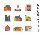 An Icon Set Of Colorful Houses...