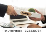 Small photo of policy concept. business woman sent policy document to manager.