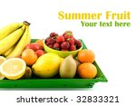 summer fruit at green tray | Shutterstock . vector #32833321