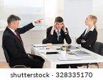 mature businessman arguing with ... | Shutterstock . vector #328335170