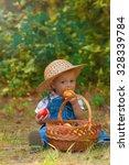 little boy with a basket of... | Shutterstock . vector #328339784
