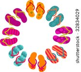 sun made from flip flops | Shutterstock .eps vector #32834029