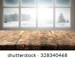 winter window and wooden table... | Shutterstock . vector #328340468
