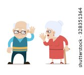 senior couple   speaking old... | Shutterstock .eps vector #328351364