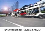 the trailer transports cars on... | Shutterstock . vector #328357520