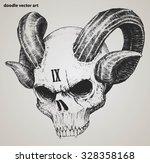skull demon or evil doodle... | Shutterstock .eps vector #328358168