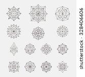 set of doodle geometric shapes. ... | Shutterstock .eps vector #328406606