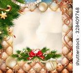 christmas greeting card light... | Shutterstock .eps vector #328409768