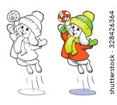 coloring book or page. bunny in ... | Shutterstock .eps vector #328426364