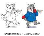 coloring book or page. wolf in... | Shutterstock .eps vector #328426550