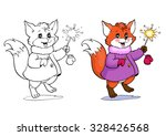 coloring book or page. fox in a ... | Shutterstock .eps vector #328426568