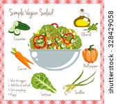 simple vegan salad recipe... | Shutterstock .eps vector #328429058