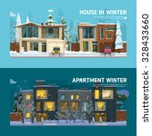 two family house and apartment... | Shutterstock .eps vector #328433660