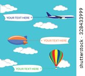 flying planes  zeppelin and hot ... | Shutterstock .eps vector #328433999