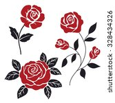 red and black stylization roses | Shutterstock .eps vector #328434326
