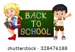 children with back to school... | Shutterstock .eps vector #328476188