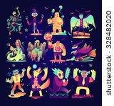 halloween character set vector... | Shutterstock .eps vector #328482020