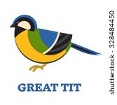 great blue tit bird line art... | Shutterstock .eps vector #328484450