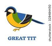 great blue tit bird line art... | Shutterstock .eps vector #328484450