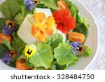 fresh green salad with edible... | Shutterstock . vector #328484750
