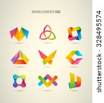 vector design logo elements big ... | Shutterstock .eps vector #328495574