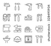 home repair icons  thin line... | Shutterstock .eps vector #328495934