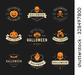 set vintage happy halloween... | Shutterstock .eps vector #328497800