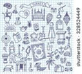 set of turkey icon doodle. hand ... | Shutterstock .eps vector #328524449