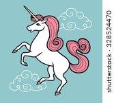 cartoon unicorn with rainbow...   Shutterstock . vector #328524470
