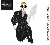 fashion girl in sketch style.... | Shutterstock .eps vector #328525538