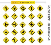 25 sets of road yellow sing... | Shutterstock .eps vector #328530704