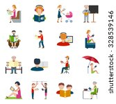 people reading books and... | Shutterstock .eps vector #328539146