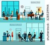 office worker horizontal banner ... | Shutterstock .eps vector #328539944