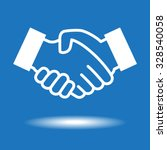 handshake icon.  white icon on... | Shutterstock .eps vector #328540058