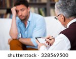 sad young man talking with... | Shutterstock . vector #328569500