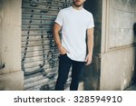 bearded young man wearing white ... | Shutterstock . vector #328594910