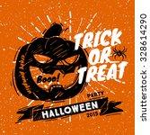 sketched pumpkin for halloween... | Shutterstock .eps vector #328614290