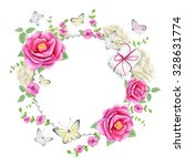 watercolor floral frame with... | Shutterstock . vector #328631774