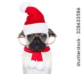 pug dog as santa claus with... | Shutterstock . vector #328633586