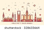 skyline of saudi arabia ... | Shutterstock .eps vector #328633664