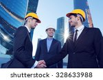 investor and contractor shaking ... | Shutterstock . vector #328633988