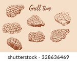 a set of steaks in color....   Shutterstock .eps vector #328636469