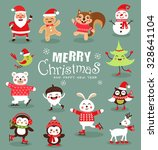 funny christmas characters set. ... | Shutterstock .eps vector #328641104
