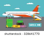 landing on flight. vector flat... | Shutterstock .eps vector #328641770
