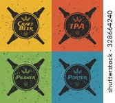 dirty grunge craft beer labels. ... | Shutterstock .eps vector #328664240