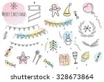 merry christmas set. hand drawn ... | Shutterstock .eps vector #328673864