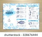 watercolor seafood menu design. ... | Shutterstock .eps vector #328676444