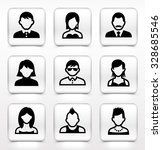 people face set on white square ... | Shutterstock .eps vector #328685546