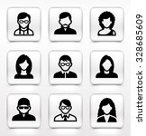 people face set on white square ... | Shutterstock .eps vector #328685609