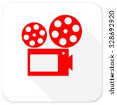 movie red flat icon with long... | Shutterstock . vector #328692920